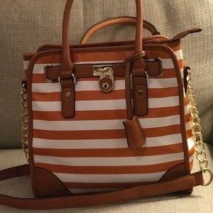 Handbags - La Terre Fashion orange striped purse!!! NWT!!!